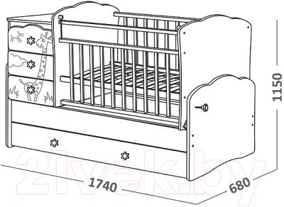 Детская кровать-трансформер СКВ 940038-1 (венге-белый)