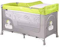 Кровать-манеж Lorelli San Remo 2 Elephant / 10080071937 (green/grey) -