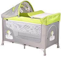 Кровать-манеж Lorelli San Remo 2 Plus Elephant / 10080081937 (green/grey) -