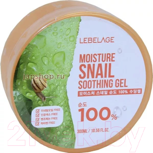 Купить Гель для тела Lebelage, Увлажняющий успокаивающий с муцином улитки (300мл), Южная корея