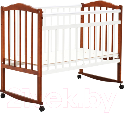 Детская кроватка Bambini М.01.10.09 (белый/орех)