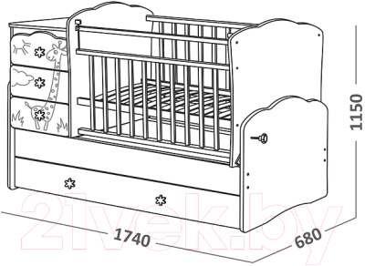 Детская кровать-трансформер СКВ 940039-1 (Бежевый-Белый)