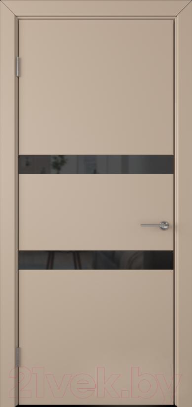 Купить Дверь межкомнатная Юркас, Colorit К6 ДО 60x200 (Lacobel черный/латте), Беларусь