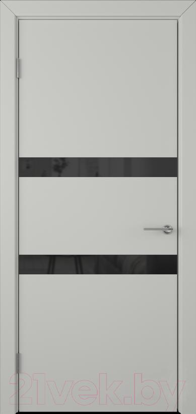 Купить Дверь межкомнатная Юркас, Colorit К6 ДО 60x200 (Lacobel черный/светло-серый), Беларусь