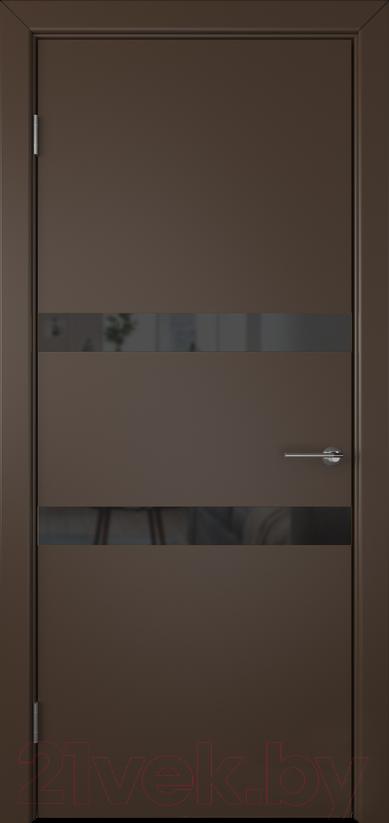 Купить Дверь межкомнатная Юркас, Colorit К6 ДО 80x200 (Lacobel черный/шоколад), Беларусь