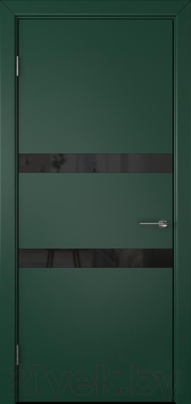 Купить Дверь межкомнатная Юркас, Colorit К6 ДО 80x200 (Lacobel черный/зеленый), Беларусь