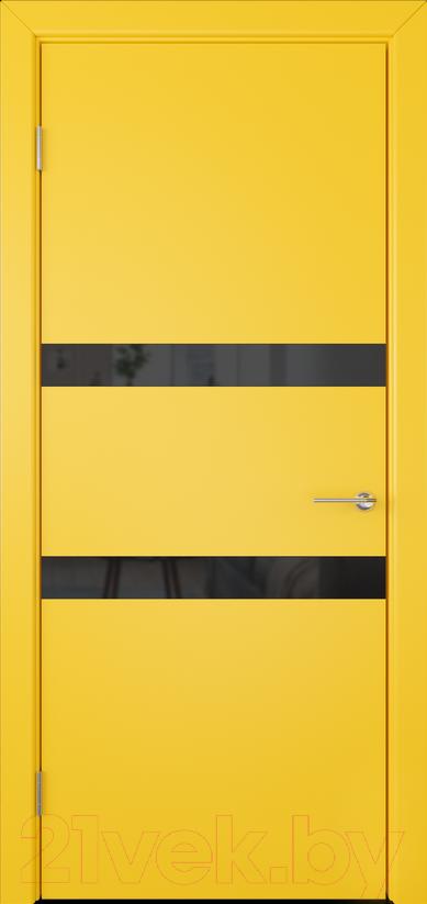 Купить Дверь межкомнатная Юркас, Colorit К6 ДО 80x200 (Lacobel черный/желтый), Беларусь