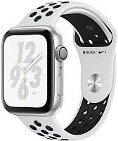 Умные часы Apple Watch Series 4 Nike+ 40mm / MU6H2 (алюминий серебристый/чистая платина, черный) -