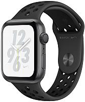 Умные часы Apple Watch Series 4 Nike+ 40mm / MU6J2 (алюминий серый космос/антрацитовый, черный) -