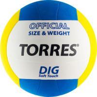 Мяч волейбольный Torres Dig V20145 (White-Yellow-Blue) -