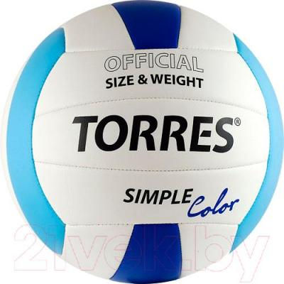 Мяч волейбольный Torres Simple Color V30115 (White-Light Blue-Blue) - общий вид