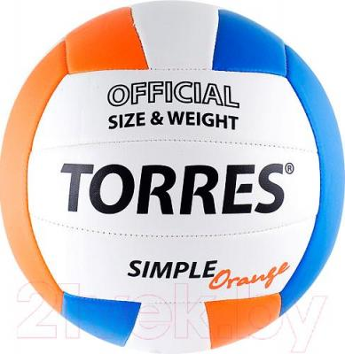 Мяч волейбольный Torres Simple Orange V30125 (White-Light Blue-Orange) - общий вид