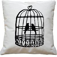 Подушка декоративная MATEX Птица в клетке / 02-567 (белый) -