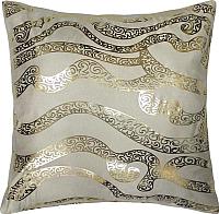 Подушка декоративная MATEX Luxury Линии / 13-983 (золото/бежевый) -