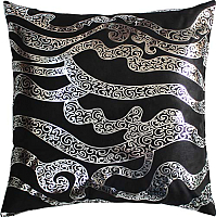 Подушка декоративная MATEX Luxury Линии / 14-003 (серебристый/черный) -
