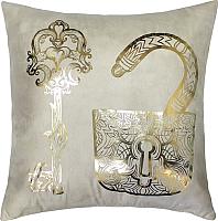 Подушка декоративная MATEX Luxury Ключ и замок / 13-860 (золото/бежевый) -