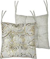 Подушка на стул MATEX Luxury Розочки / 15-727 (золото/светло-серый) -