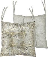 Подушка на стул MATEX Luxury Махенди / 15-734 (золото/светло-серый) -