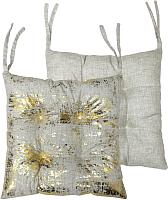 Подушка на стул MATEX Luxury Мазки / 15-741 (золото/светло-серый) -
