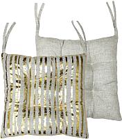 Подушка на стул MATEX Luxury Вертикальные полоски / 15-758 (золото/светло-серый) -