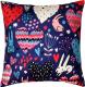 Подушка декоративная MATEX Fantasy Зайчики и сердечки темный / 08-736 (розовый/синий) -
