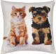 Подушка декоративная MATEX Fantasy Кот и собака / 07-258 (оранжевый/коричневый) -