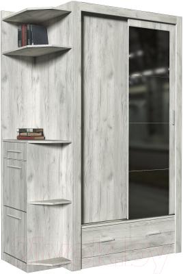 Шкаф в прихожую Интерлиния Лима-1 (левый,дуб белый)