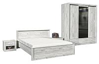 Комплект мебели для спальни Интерлиния Лима-3 (с основанием,дуб белый) -