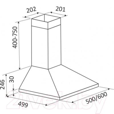 Вытяжка купольная Zorg Technology Kvinta 750 (60, белый) - габаритные размеры