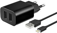 Зарядное устройство сетевое Deppa Lightning Ultra 2 USB 2.1A / 11355 (черный) -