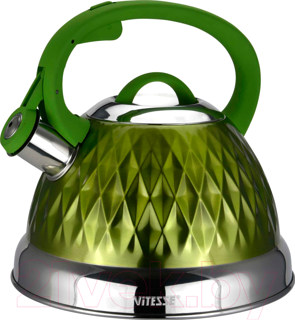 Купить Чайник со свистком Vitesse, VS-1122 (зеленый), Китай, нержавеющая сталь