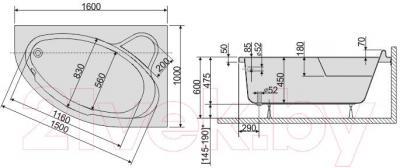 Ванна акриловая Sanplast WAP/CO 100x160+ST5 bi - схема