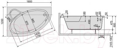 Ванна акриловая Sanplast WAL/CO 120x180+ST6 bi - схема