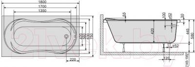 Ванна акриловая Sanplast WP/CL 75x180+ST4 biew - схема