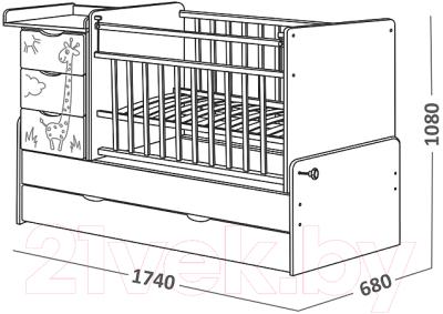 Детская кровать-трансформер СКВ 540038-1 (венге-белый)
