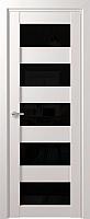 Дверь межкомнатная Юркас Deform D12 ДО 60x200 (дуб шале снежный/Lacobel черный) -