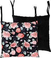 Подушка на стул MATEX MIX Цветы на черном / 09-290 (черный/розовый) -