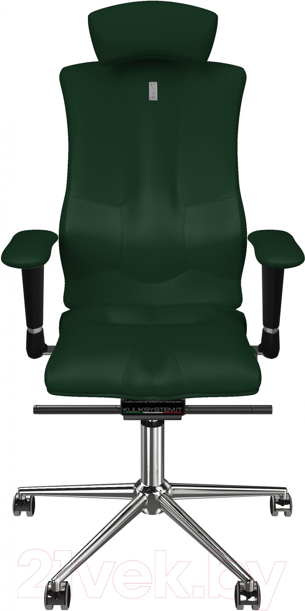 Купить Кресло офисное Kulik System, Elegance кожа натуральная (зеленый с подголовником), Украина, Elegance (Kulik System)