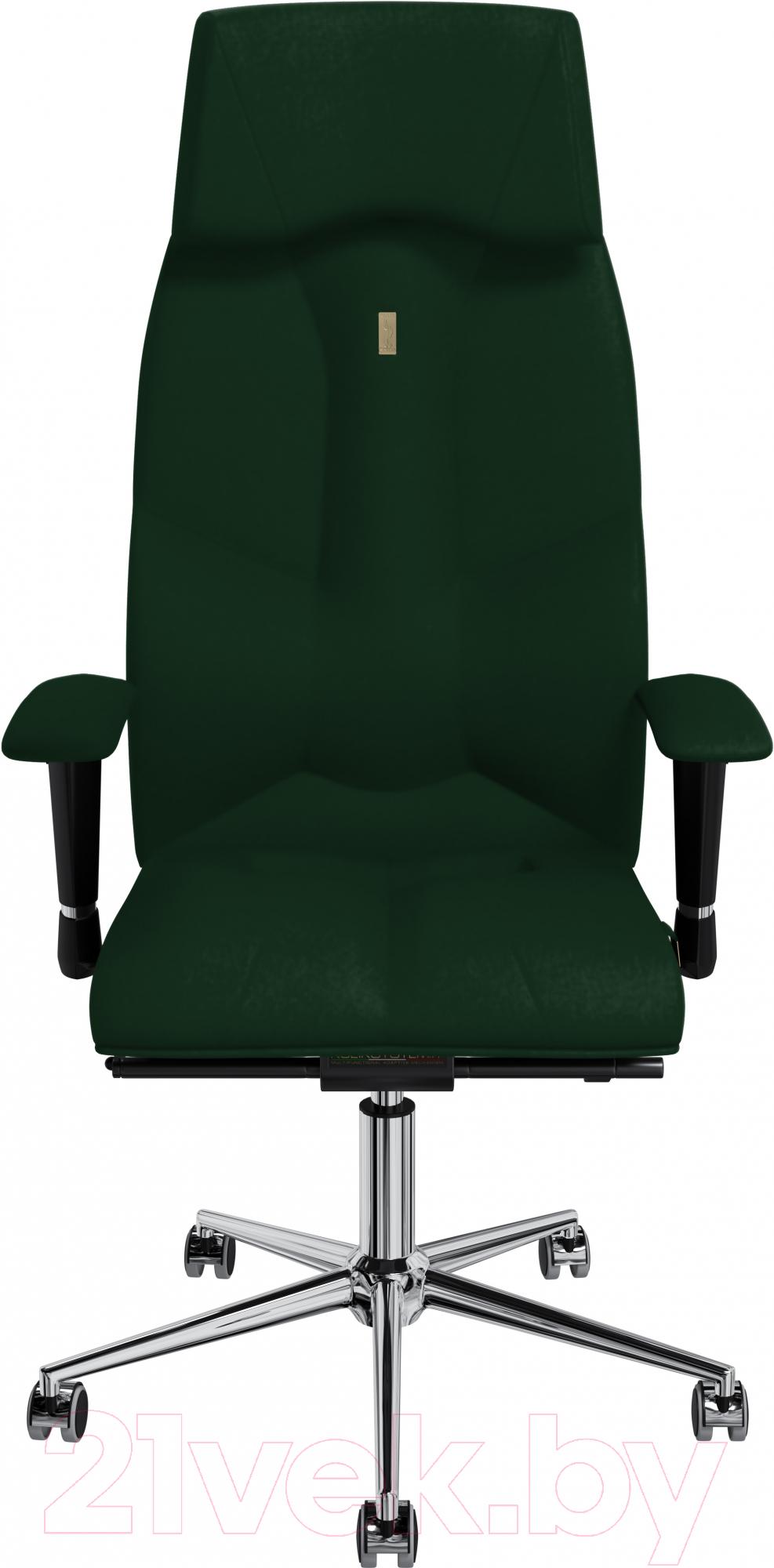 Купить Кресло офисное Kulik System, Business кожа натуральная (зеленый с подголовником), Украина, Business (Kulik System)