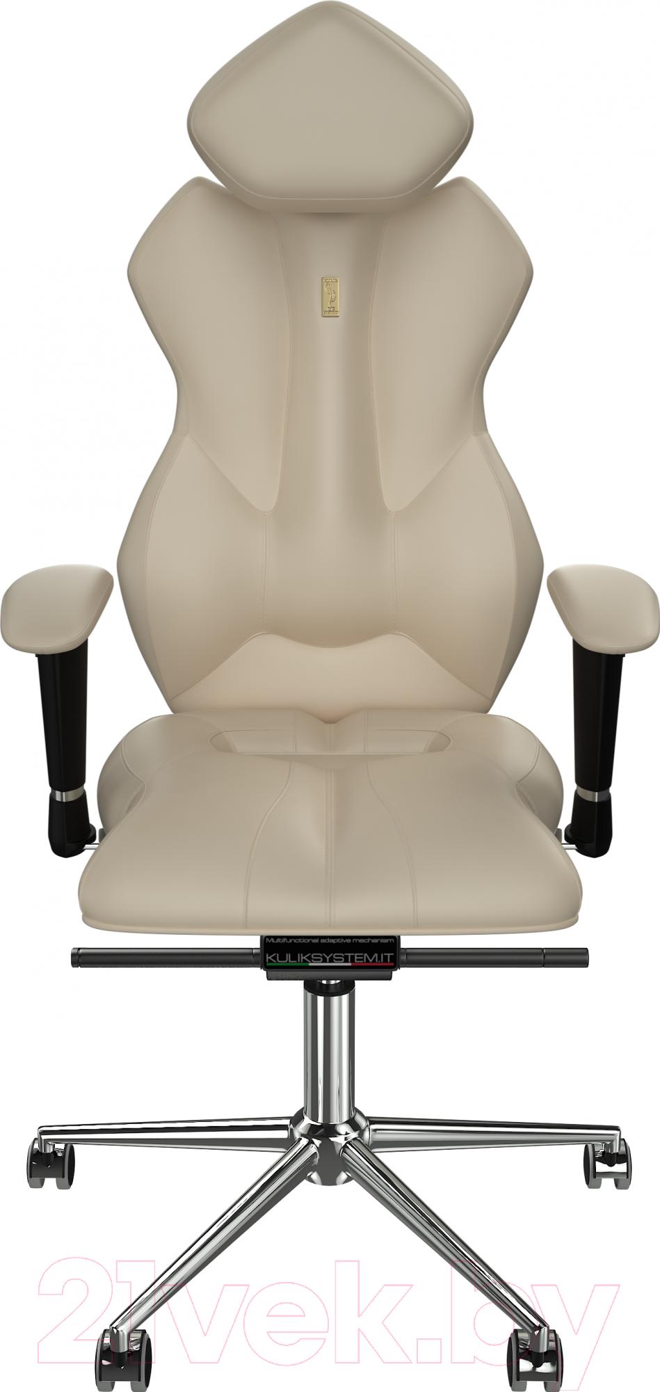Купить Кресло офисное Kulik System, Royal кожа натуральная (бежевый с подголовником), Украина, Royal (Kulik System)