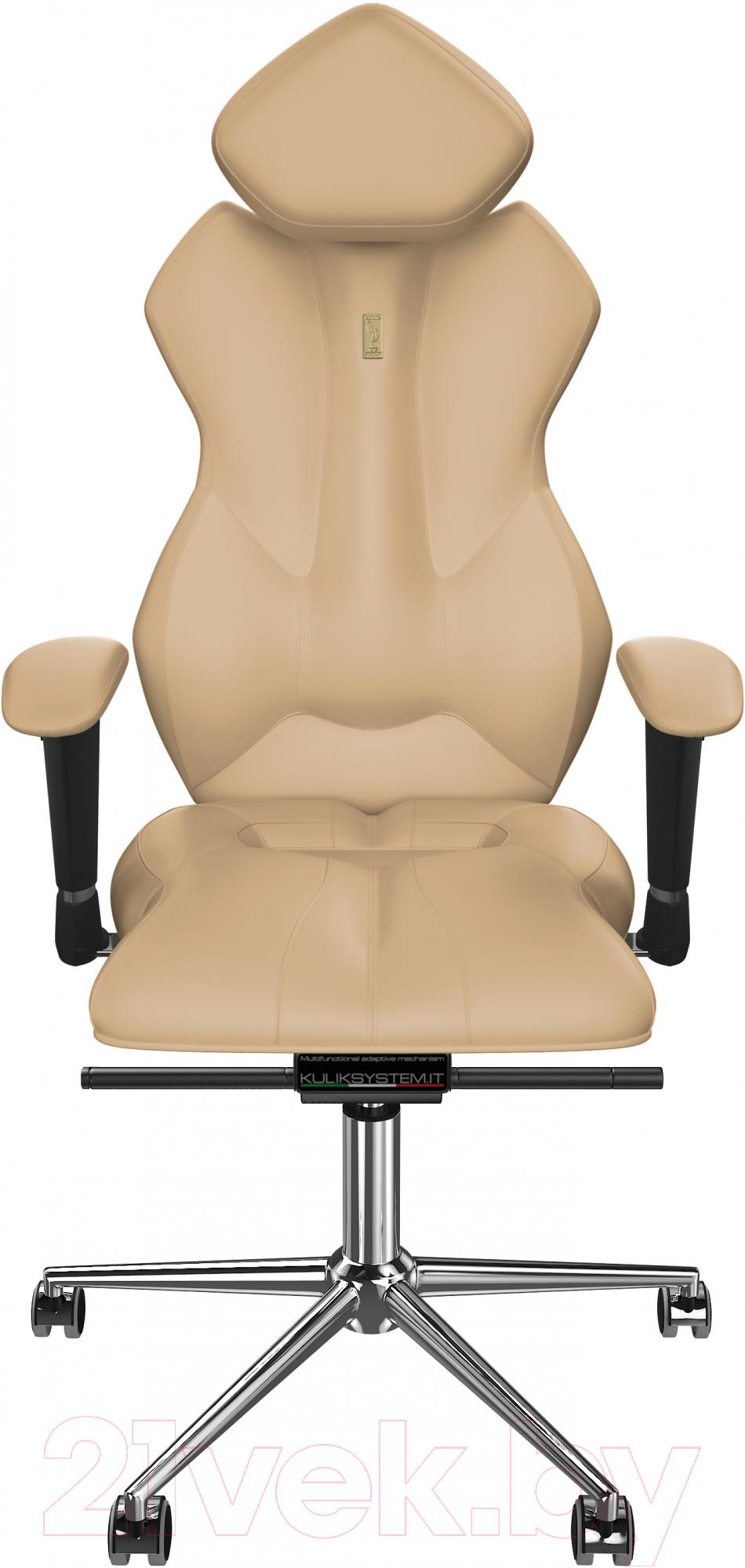 Купить Кресло офисное Kulik System, Royal экокожа (бежевый с подголовником), Украина, Royal (Kulik System)