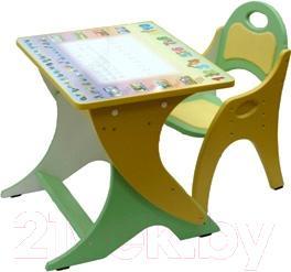 Комплект мебели с детским столом Интехпроект Зима-Лето 14-338 (фисташковый и желтый) - общий вид