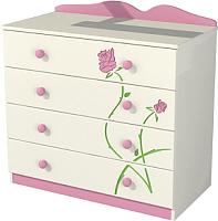 Комод Мебель-Неман Тедди Розалия К90-1Д1 (зеленый/кремовый/розовый) -