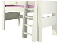 Кровать-чердак Мебель-Неман Тедди Розалия КРД120-1Д1 (зеленый/кремовый/розовый) -