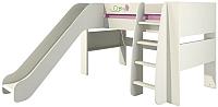 Кровать-чердак Мебель-Неман Тедди Розалия КРД120-2Д1 (зеленый/кремовый/розовый) -