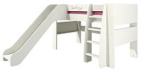 Кровать-чердак Мебель-Неман Тедди Сакура КРД120-2Д0 (бордовый/кремовый) -