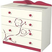 Комод Мебель-Неман Тедди Сакура К90-1Д0 (бордовый/кремовый) -