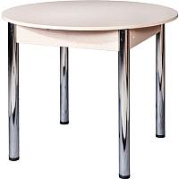 Обеденный стол FORT Круглый 90-120x90x75 (дуб выбеленный/хром) -