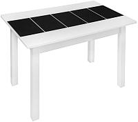 Обеденный стол FORT Техно 110x70x75 (белый/черное стекло) -
