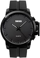 Часы наручные мужские Skmei 1208-3 (черный/черный силиконовый ремешок) -